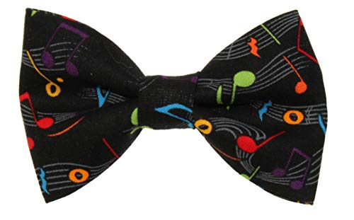 Boys Black With Colorful Musical Notes Clip On Cotton Bow Tie by -
