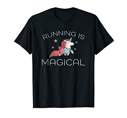 Track T-shirt Sayings (Running T-Shirt Funny Marathon Runner Cute Unicorn Racer Tee)