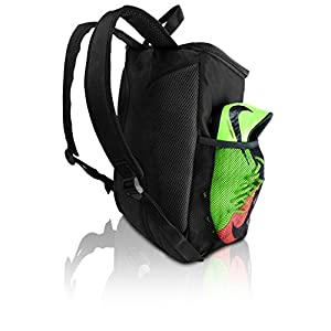Soccer Backpack with Ball Holder Compartment - For Kids Youth Boys & Girls | Bag Fits All Soccer Equipment & Gym Gear (Black)