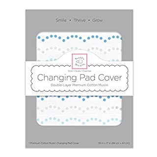 SwaddleDesigns Cotton 2-Layer Muslin Changing Pad Cover, Dotted Scallop Shimmer, Blue