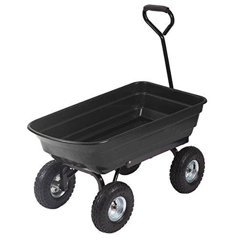 Heavy Duty Poly Black Garden Utility Yard Dump Cart Wheel Barrow Garden Cart T91