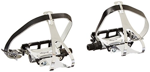 (Wellgo Track Fixie Bike Pedal with Toe Clips and Leather Strap, Black)