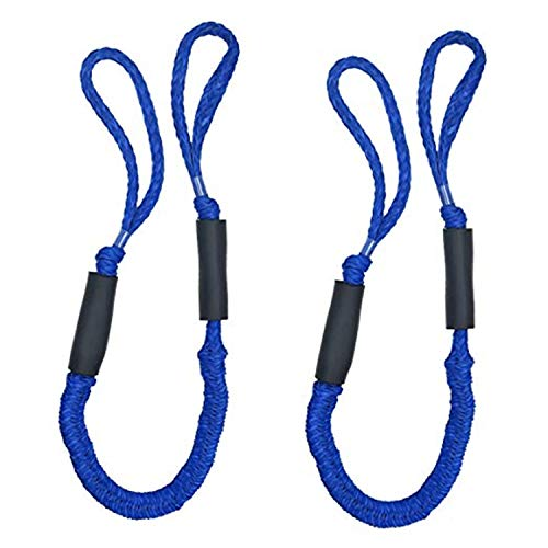Vklet 2X Bungee Dock Line Dockline Mooring Rope Bungee Cord for Boats Kayak Marine PWC Stretch 3.5-5.5ft (Blue)