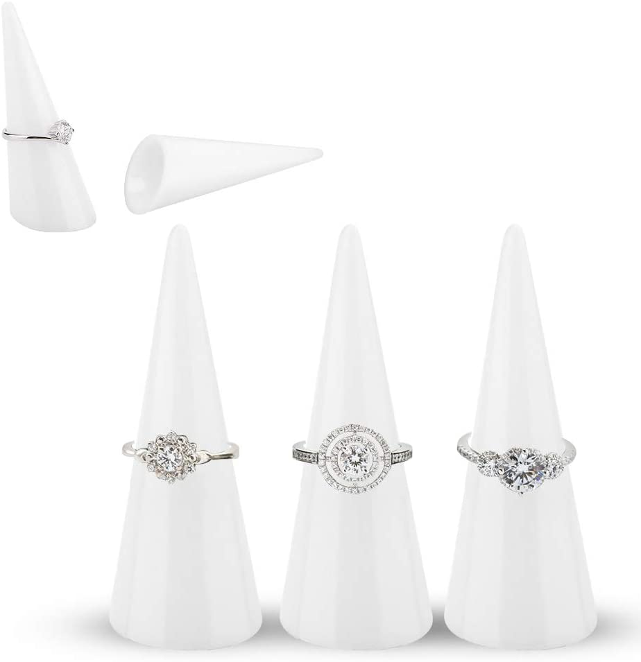 White Finger Ring Jewelry Display 5pcs Single Finger Display Ring Holder Showcase Stand Jewelry Rings Organizer