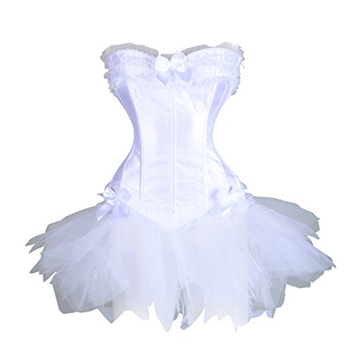 AICONL Women's Overbust Waist slimming Satin Lace Boned Corset Gothic Bustiers Dress with Tutu Skirt