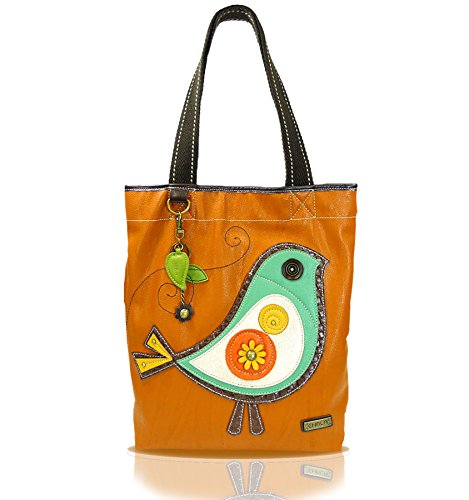 CHALA Everyday Tote Women Handbag, Purse for Work or School, Shoulder Bag Totes with Detachable Keychain (Orange Bird)