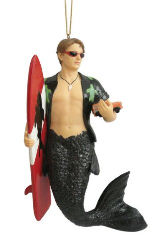 Woody Surfer Merman Mermaid Christmas Ornament