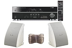 Yamaha 3D-Ready 5.1-Channel 500 Watts Digital Home Theater Audio/Video Receiver With a USB Digital Input and Connecting Cable to Play & Charge Your iPod or iPhone & Control Remotely + Set of 2 Yamaha All Weather Indoor / Outdoor 150 watt Wall Mountable Natural Sound 2-way Acoustic Suspension Speakers - White + 100ft 16 AWG Speaker Wire