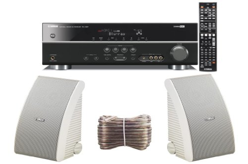 Yamaha 3D-Ready 5.1-Channel 500 Watts Digital Home Theater Audio/Video Receiver With a USB Digital Input and Connecting Cable to Play & Charge Your iPod or iPhone & Control Remotely + Set of 2 Yamaha All Weather Indoor / Outdoor 180 watt Wall Mountable Natural Sound 2-way Acoustic Suspension Speakers - White + 100ft 16 AWG Speaker Wire