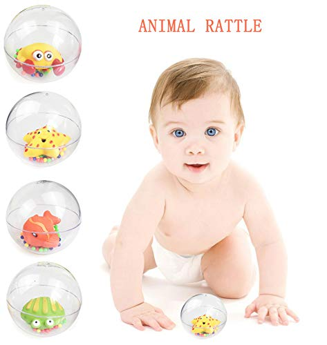 MSOO Baby Animals Transparent Handball Early Education Puzzle Rattle Rolling Baby Toy -