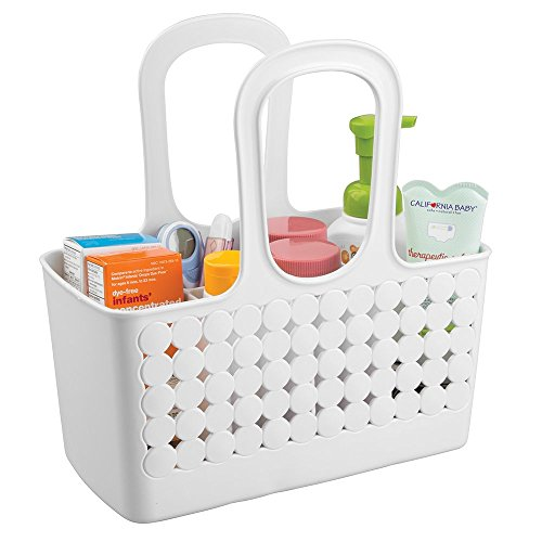 mDesign Baby-/Kinderzimmer-Organizer für Shampoo, Thermometer, Puder, Lotion, Medikamente - Klein, Unterteilt, Weiß