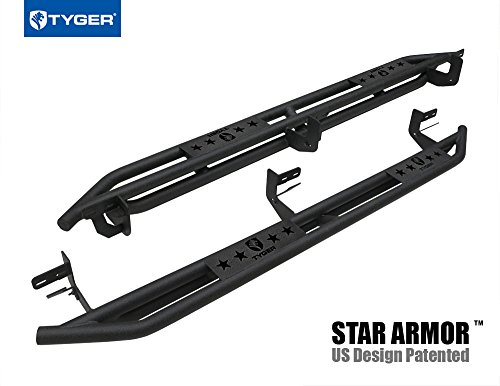 (Tyger Auto TG-AM2D20078 Star Armor Kit for 2009-2018 1500 2010-2019 Ram 2500/3500 Crew Cab | Textured Black | Side Step | Nerf Bars | Running Boards)