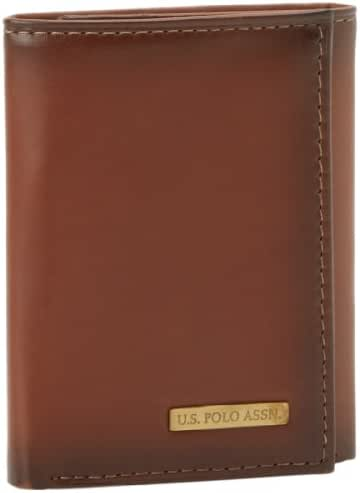 U.S. Polo Assn. Men's Burnished Calf Credit Card Trifold Wallet