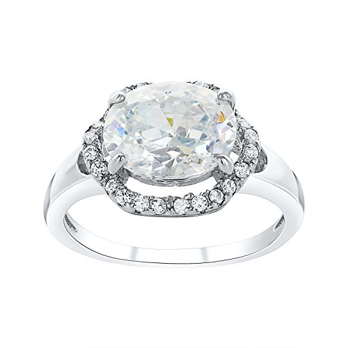 Montage Jewelry Women's Oval Shape Cubic Zirconia & Sterling Silver Vintage Engagement Ring ()