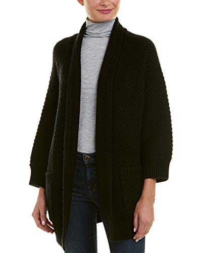 - Vince Womens Marled Wool & Cashmere-Blend Car Coat, L, Black