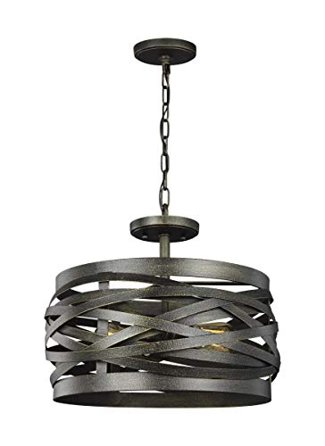 Sea Gull Lighting 7728602-802 Two Lgiht Semi-Flush Convertible Pendant Obsidian Mist (Semi Flush Pan)