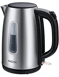 Aicok Electric Kettle BPA Free Fast Boiling 1500Watts Water Kettle (1.7 Liter) Premium 304 Stainless Steel Kettle with Professional Strix Thermostat Control, Auto Shut Off, Silver