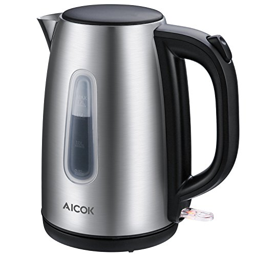 Aicok Electric Kettle 1.7L Fast 1500Watts Water Kettle, Premium 304 Stainless Steel Durable Water Boiler with Professional Strix Thermostat Control, Auto Shut Off With Boil Dry Protection, Silver