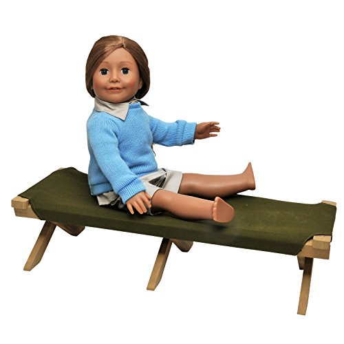 Adventure Camp Cot Fits 18 inch American Girl Dolls. Cot is Perfect for Creating a Camping Scene and Can be Used with our Tent. Designed For 18 Inch Doll Clothing and Accessories.