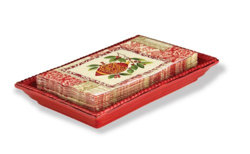 October Hill Ceramic Guest Towel Caddy/Tray, Red (Red Tray)