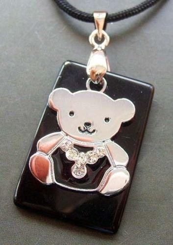 Gozebra(TM) Acrylic Diamond Alloy Metal Agate Gem Bear Pendant - Bear Agate
