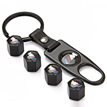 eXeAuto Black Tire Valve Stem Air Caps Cover and Keychain Combo Set For BMW M