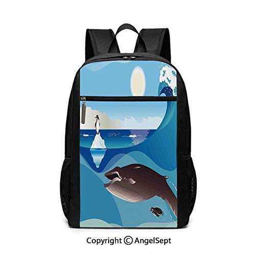 17 Inch Backpack School Bags,North Pole Graphic Landscape with Penguin Wave and Sun Kid Room Decor,Blue White and Grey,6.5