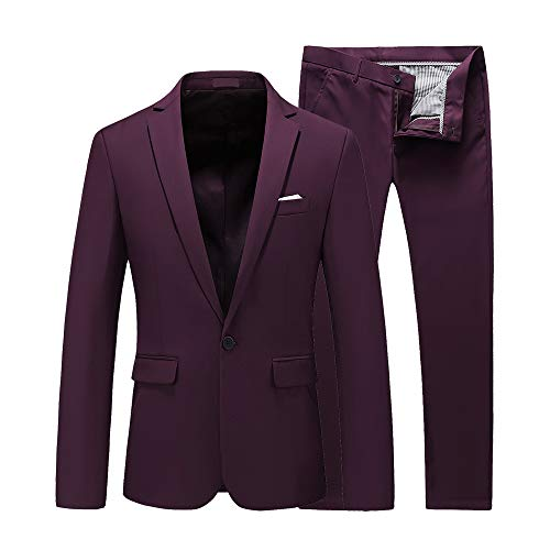 UNINUKOO Mens Slim Fit 2 Piece Single Breasted Jacket Party Prom Tuxedo SuitsUS Size 33 (Label Size L) Wine Red