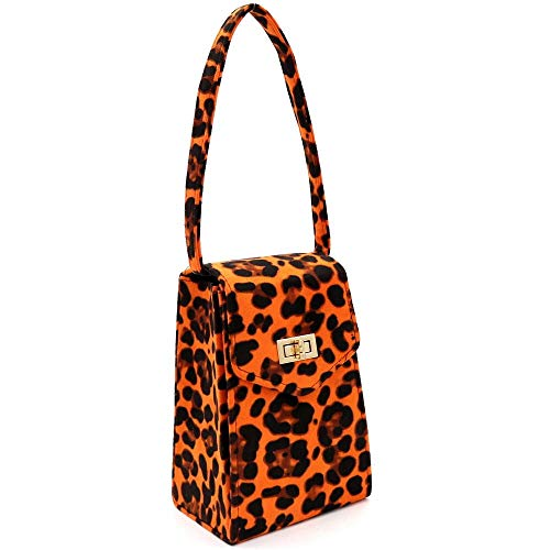 (Faux Suede Leopard Print Tall Box Top-Handle Satchel Clutch)