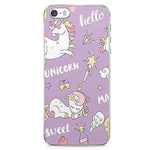 iPhone SE Transparent Edge Phone case Unicorn Purple Phone Case Unicorn Pattern iPhone SE Cover with Transparent Frame