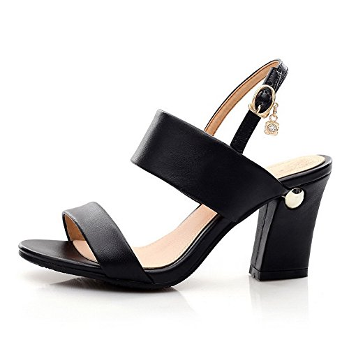 Buckle Toe WeenFashion High Open Solid Women's Leather Heels Black Cow Sandals Uqww1Taf5c
