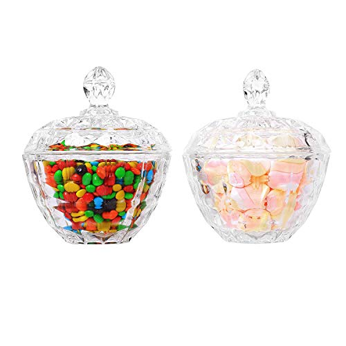 ComSaf Glass Candy Dish with Lid Decorative Candy Bowl, Crystal Covered Storage Jar, Set of 2(Diameter:4.3