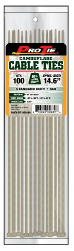Pro Tie CFT14SD100 14-Inch Tan Nylon Standard Duty Cable Ties, 100-Pack by Pro Tie
