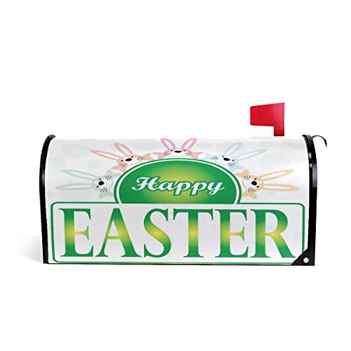 (domook Magnetic Mailbox Cover Greetings Personalized Home Garden Decorative Mailbox Post Wrap Standard/Large Sized Outdoor Courtyard Garden Fence Appy Easter Bunny and)