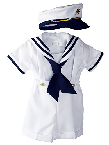 WonderfulDress Navy and White Sailor Boy Shirt, Shorts, Tie and Hat (3T, White) by WonderfulDress