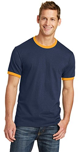 (Port & Company Mens 5.4-oz 100% Cotton Ringer Tee PC54R -Navy/ Gold)