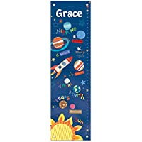 Growth Chart for Kids, Boy or Girl Height Ruler Personalized, Nursery Toddler Bedroom Playroom Décor, Outer Space