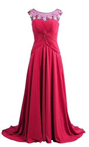 o cristallo da Hot party Dress lungo chiffon Prom neck Pink sera perline Angeldragon abito in gHTwT