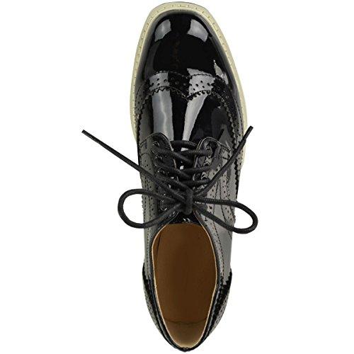 Mode Törstig Kvinna Loafers Ranka Punk Plattform Snörning Skolan Smarta Skor Storlek Svart Patent