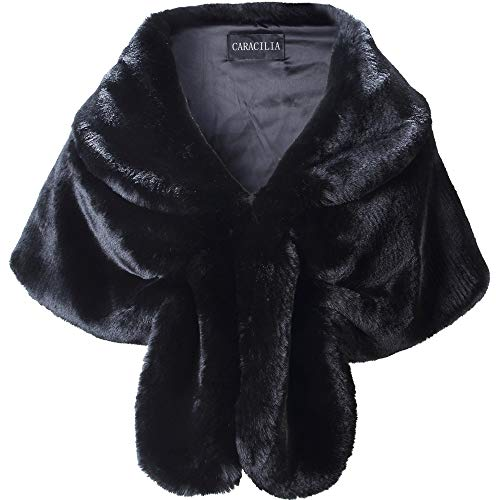 Caracilia Women Faux Fur Shawl Wrap Stole Shrug Winter Wedding Wrap Black S CA95