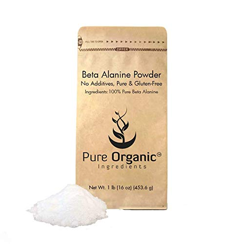Beta Alanine Powder (1 lb) by Pure Organic Ingredients, 100% Pure Non-Essential Amino Acid, Last Longer in High-Intensity Workouts*, Delay Muscle Fatigue*, Gluten-Free, Eco-Friendly Packaging