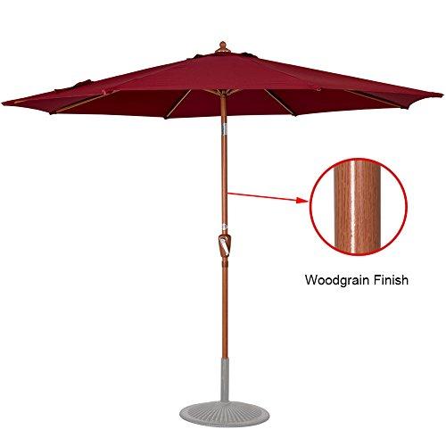 Sundale Outdoor 9 Feet Aluminum Patio Umbrella Market Table Umbrella in Woodgrain Finish with Crank and Push-button Tilt for Garden, Deck, Backyard, Pool, 8 Steel Ribs, Polyester Canopy (Burgundy)