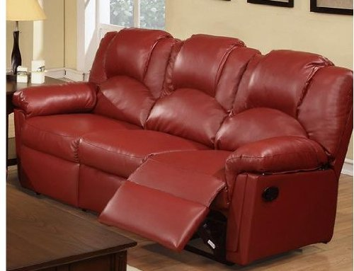 Bobkona Motion Sofa in Burgundy Bonded Leather by Poundex