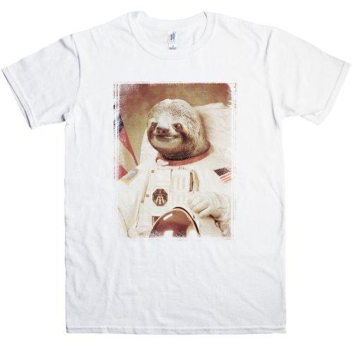Mens Astronaut Sloth T Shirt - White - Medium