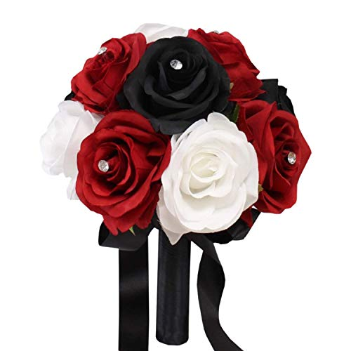 Angel Isabella, LLC Artificial Rose Bouquet-1 Dozen Roses Ready to use -Toss Bridesmaid Maid of Honor Silk Flowers (Black White Red-Rhinestone)