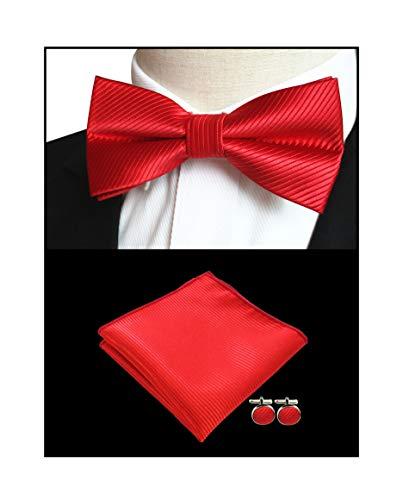 Men Cherry Red Repp Bow Ties Pocket Square Set Solid Color Silk Business Cravat