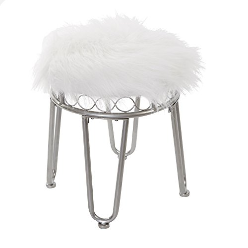 Silverwood Hannah Vanity Stool with Hairpin Legs (Furry Stool Vanity)