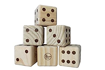 Giant Wooden Yardzee & Yardkle Set   Oversized Six Yard Dice with Dry Erase Scorecards, Carry Bag, and Markers   Jumbo Wood Playing Dice for Backyard, Wedding, Beach, BBQ, Lawn Game Family & Group Fun