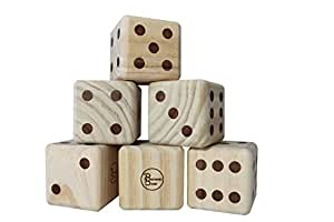 Giant Wooden Yardzee & Yardkle Set | Oversized Six Yard Dice with Dry Erase Scorecards, Carry Bag, and Markers | Jumbo Wood Playing Dice for Backyard, Wedding, Beach, BBQ, Lawn Game Family & Group Fun