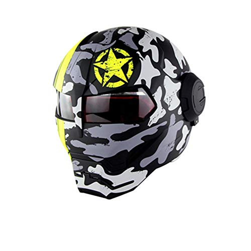 Iron Man Full face Off-Road Competition Helmet Personality flip Front Motorcycle Helmet D.O.T Certified Road Race Adult Youth (M, L, XL,),XL